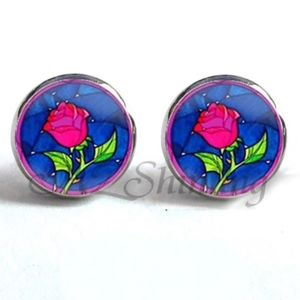 Jewelry - NEW Round Silver Red Enchanted Rose Stud Earrings